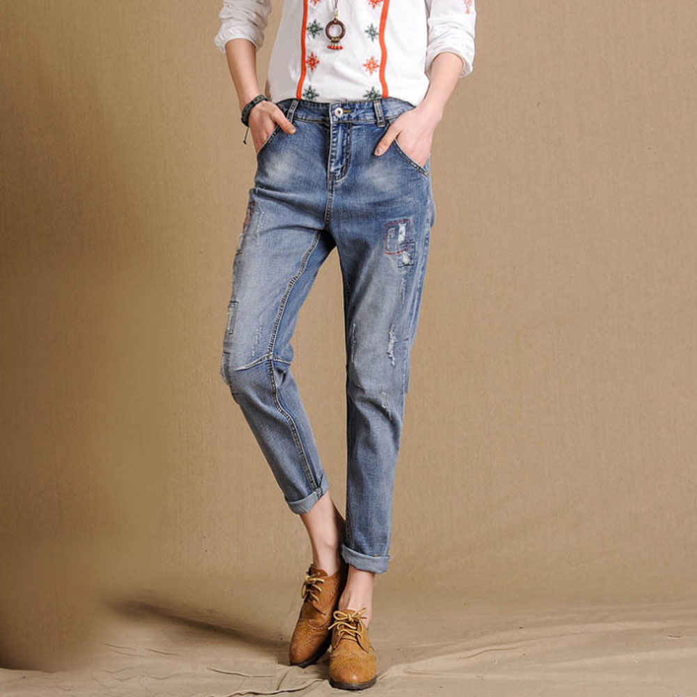 2017 Spring Summer New Europe US Stretch Large Size Women Ladies jeans Loose Hole Pants Haren Fashion Trousers