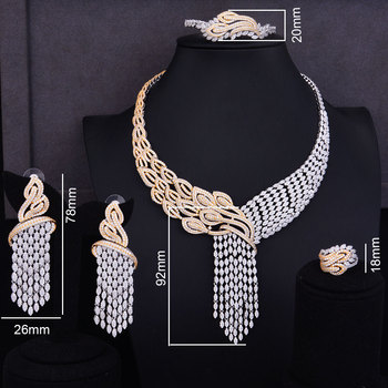 GODKI Luxury Tassels Drop Mixed Women Wedding Cubic Zirconia Necklace Earring Saudi Arabia Jewelry Set Jewellery Addiction 1
