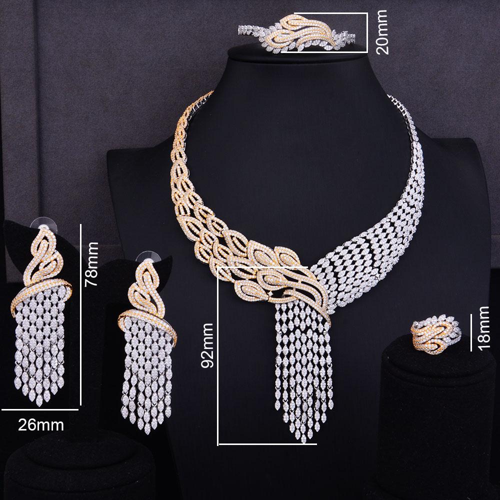 Image 2 - GODKI Luxury Tassels Drop Mixed Women Wedding Cubic Zirconia Necklace Earring Saudi Arabia Jewelry Set Jewellery AddictionJewelry Sets   -