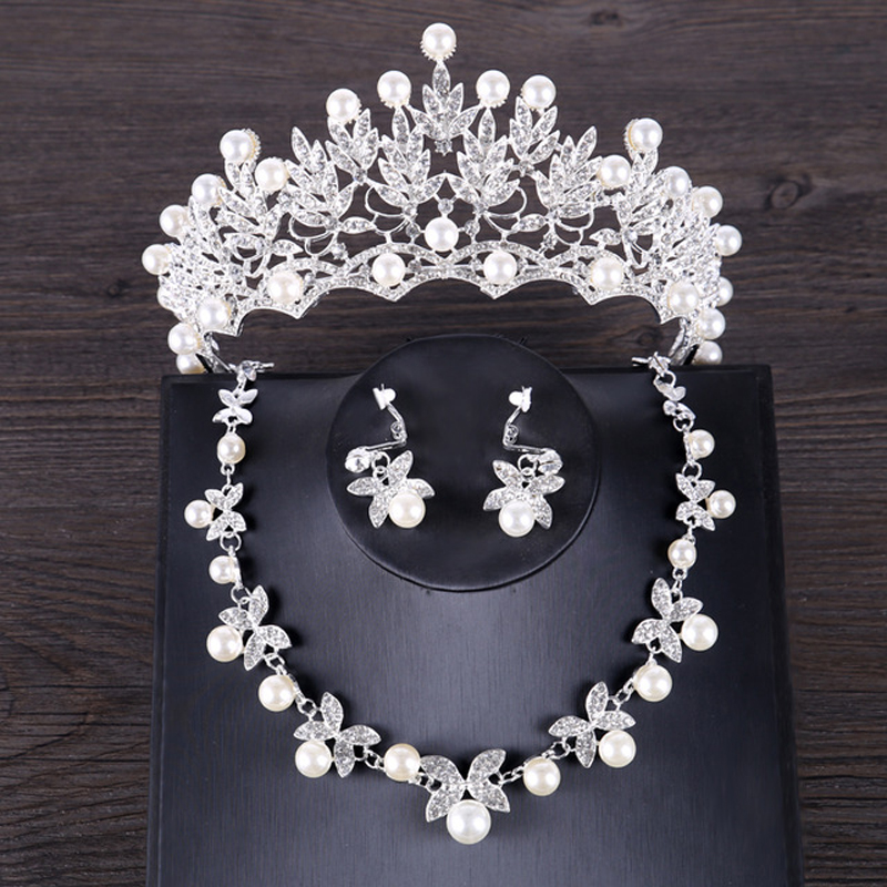 Fashion Silver Tiara Crowns Necklace Earrings Sets Crystal Simulated Pearl Bridal Jewelry Sets For Women Wedding Accessories