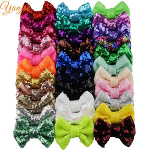 "Free DHL 300pcs/lot 3"" Sequins Bow WITHOUT Hair Clips Girls Solid Tiny Glitter Hair Bow"