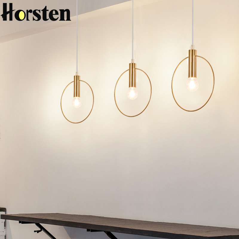 Horsten Modern Circle Pendant Light Single Ring Round Gold Hanging Lighting Arts Deco E14 fixtures For Dining Room Cafe BarHorsten Modern Circle Pendant Light Single Ring Round Gold Hanging Lighting Arts Deco E14 fixtures For Dining Room Cafe Bar