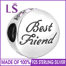LS Fashion 925 Sterling Silver Best Friend Bead With AAA CZ Beads Fit Original Charm Bracelet Jewelry Making