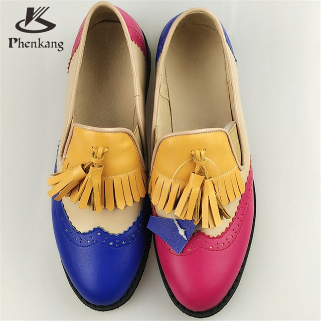 Genuine leather big woman US size 11 designer vintage flat shoes round toe handmade red blue oxford shoes for women with fur