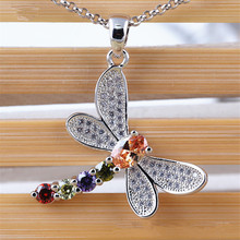 RONGQING 1pcs/lot Micro Inlay Crystal Dragonfly Pendant Necklace Summer Jewelry Zircon Insect Choker Necklace for Women