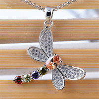 1pcs Lot Micro Inlay Crystal Dragonfly Pendant Necklace Summer Jewelry Zircon Insect Choker Necklace For Women