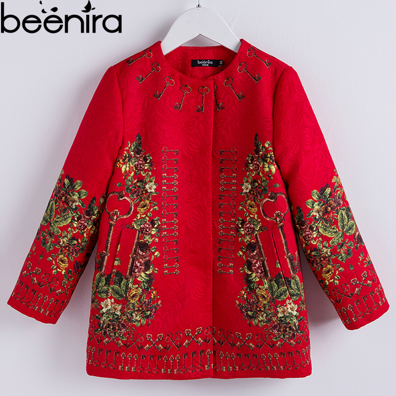 Beenira Baby Girl Outerwear Clothes 2018 European And American Style Children Winter Red Floral Coat Full Sleeve Autumn Clothes 100% real photo brand kids red heart sleeve dress american and european style hollow girls clothes baby girl clothes