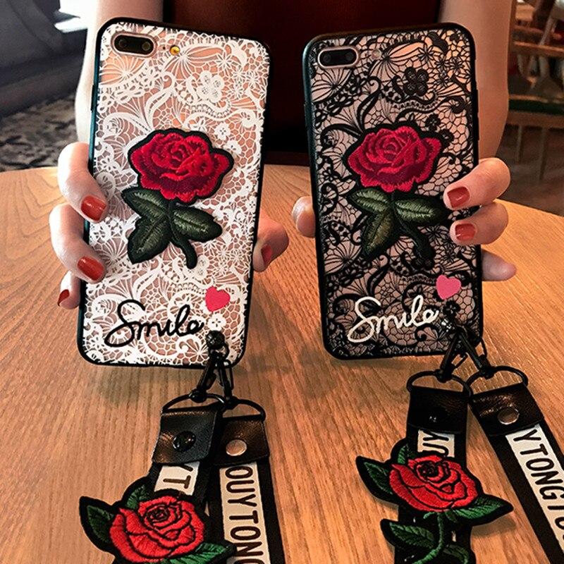 Модные, пикантные 3D розы чехол для телефона для Apple iPhone 7 6 S 6 s 8 Plus X женские задняя крышка для iPhone7 5 5S SE с Ремешок