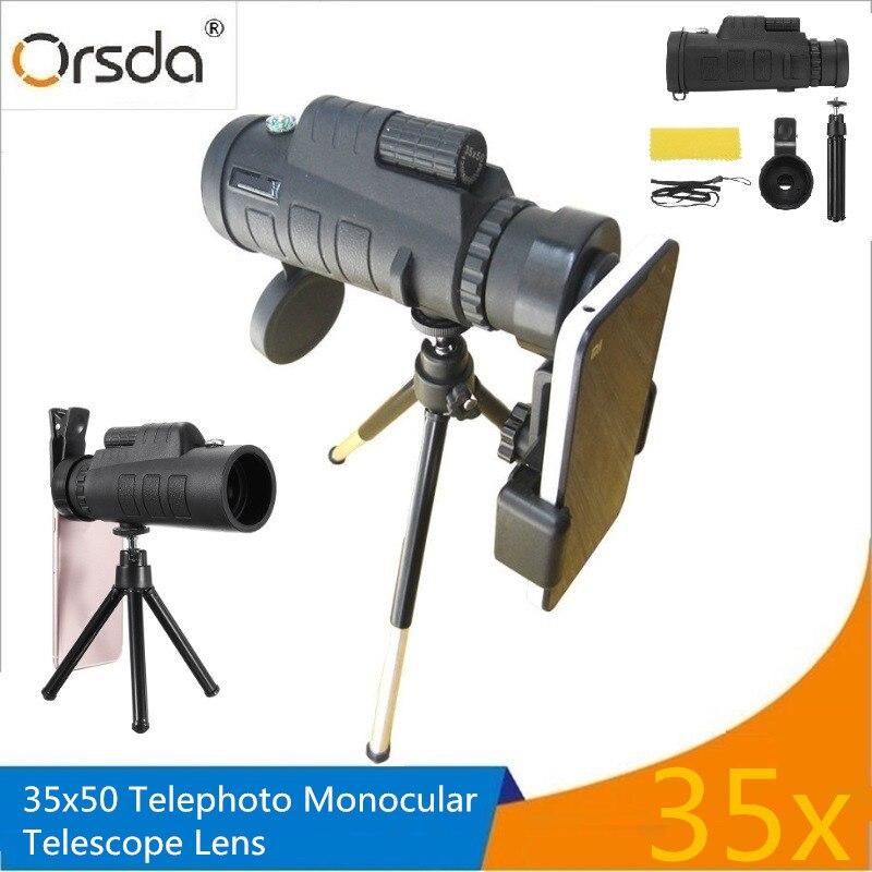 Orsda 35x50 HD Telescopio del teléfono móvil cámara de Zoom óptico telescopios Telescopio Monocular lente teleobjetivo lentes para Smartphone