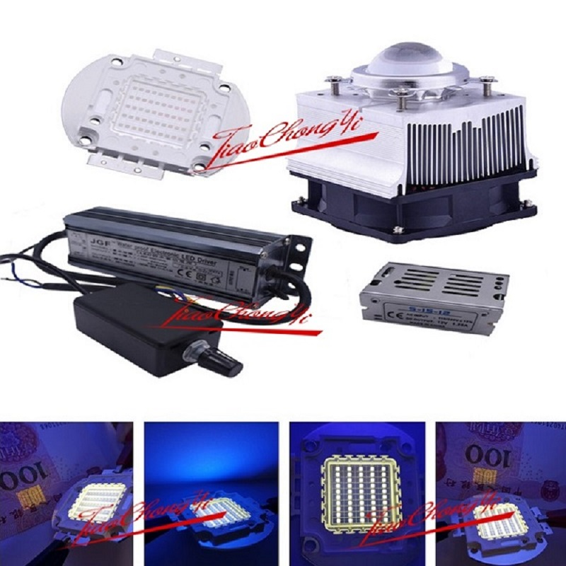 50 Вт 395nm-400nm УФ ультрафиолетовый Высокая мощность LED + 50 Вт диммер драйвер 85-265VAC + радиатор, объектив ...