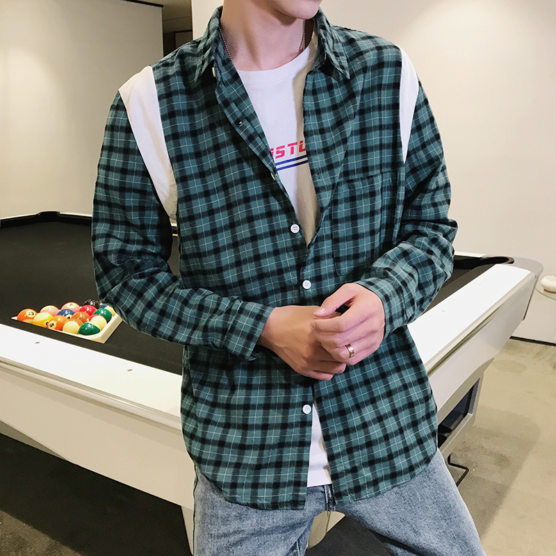 2018 spring new ulzzang male plaid long-sleeved shirt Korean students loose bf tide brand Favourite Fashion Free shipping