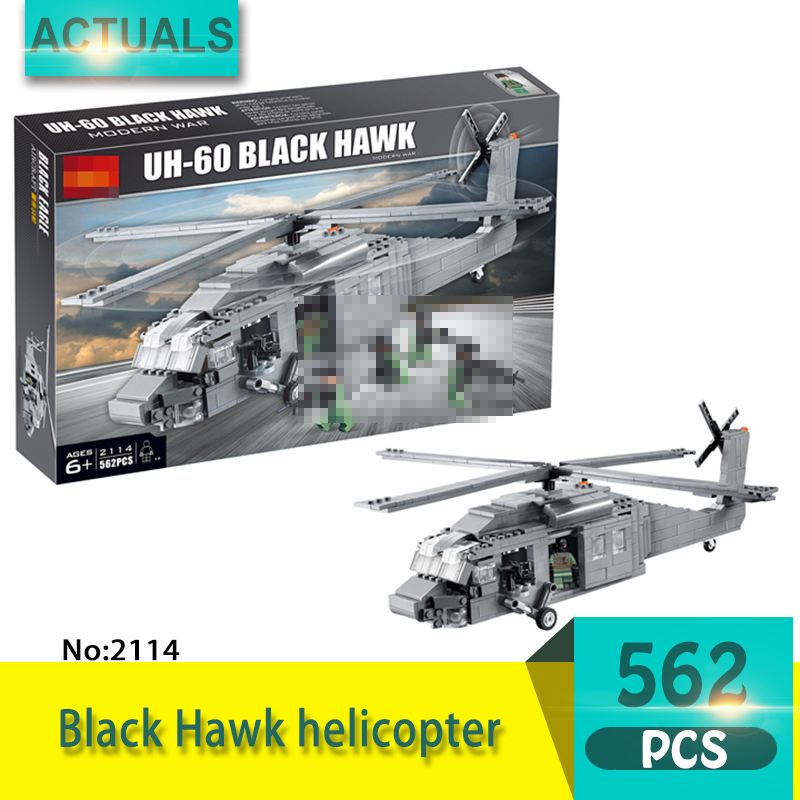 Decool 2114 562Pcs Military series Black Hawk helicopter Model Building Blocks Bricks Toys For Children wange Gift ninjago juguetes military series armed helicopter blocks decool plastic diy educational bricks building model toys for children