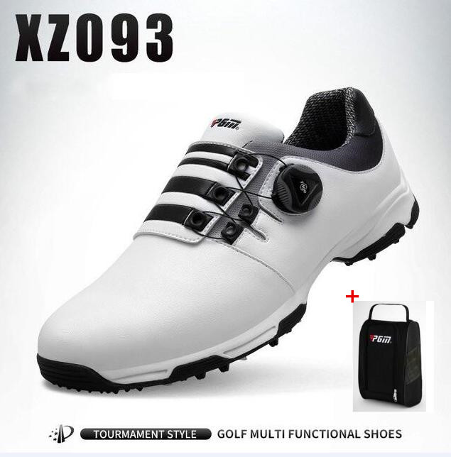 PGM Men Outdoor Sports Golf Shoes Male Golf Anti-skid Waterproof Breathable Rotating shoelaces Golf Sneakers With shoes bags цена