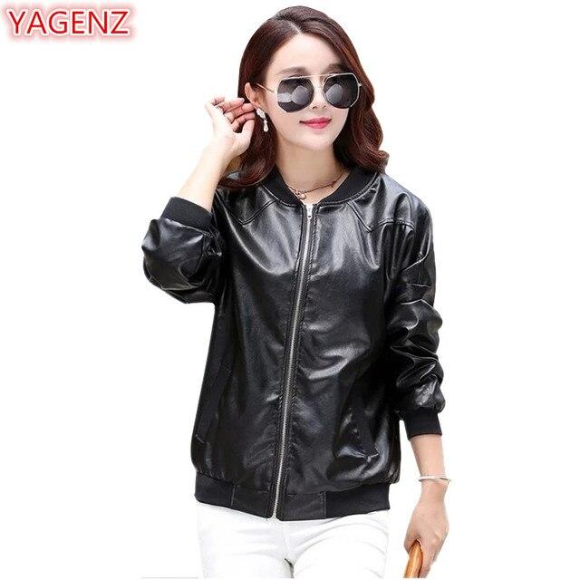de4c88c12cdb40 YAGENZ Women Leather Jacket Autumn Coat Womens Black Jacket Plus size  Jackets Fashion Leather Tops Women