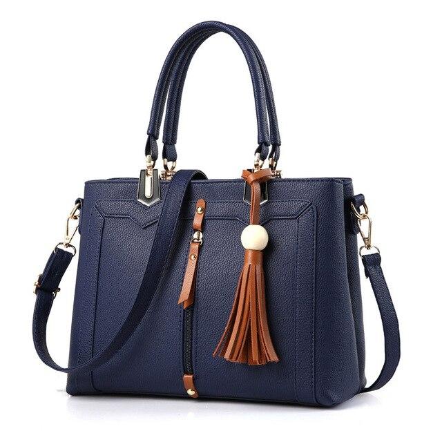 Bolsos Mujer Luxury Designer Portable Fringed Handbag Tote PU Leather Charms Bead Handle Removable Strap Shoulder Bolsa Feminina