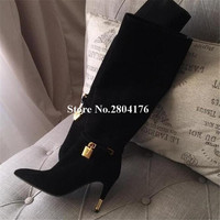 2014038af5 Brand Design Women Fashion Pointed Toe Gold Lock Knee High Thin Heel Boots  Strap Cross Long