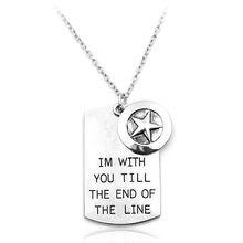 Im com você até o fim da linha cão tag pentagrama jóias pingente colar para homens feminino charme longo colar de corrente acessório