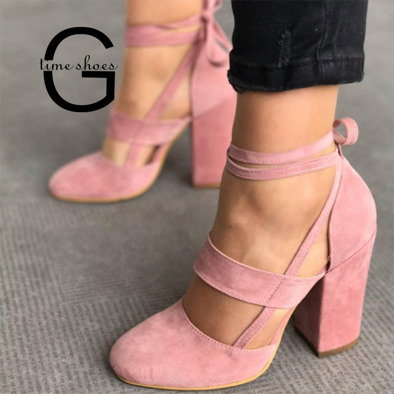 Gtime Sexy High Heel Ankle Strap Pumps Women Gladiator Sandals Fashion Rome Style Female Party Wedding 8cm Pump Shoes SE040