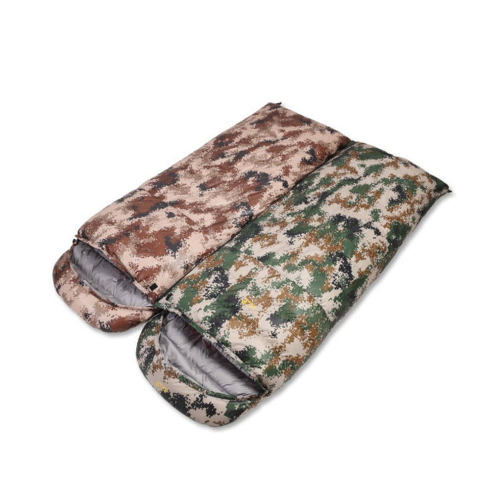 Camouflage Design Goose Down Filling Outdoor Sleeping Bag Envelope Shape Hooded Adult Keep Warm Lazy Bag CS302 Drop Shipping