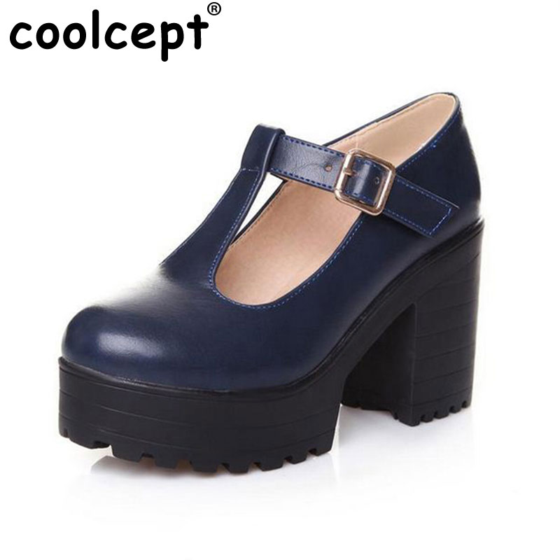 ФОТО Big size 34-46 2016 New arrival Autumn winter Shoes woman Ankle boots Female fashion bootie Buckle High heel Platform Retro Cool