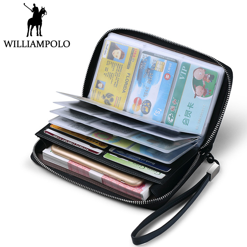 WILLIAMPOLO Business Card Holder Wallet Genuine Leather Men Wallet Long Hand Strap Clutch Bag with 40 Card Pockets Fashion Brand williampolo 2017 card wallet men 10 card slots genuine leather button closure fashion long men wallet polo174