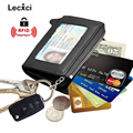 Lecxci-Mens Womens Zipper Leather Coin Change Credit Card Pouch Purse Holder Wallet with ID Window, Packaged with Gift Box