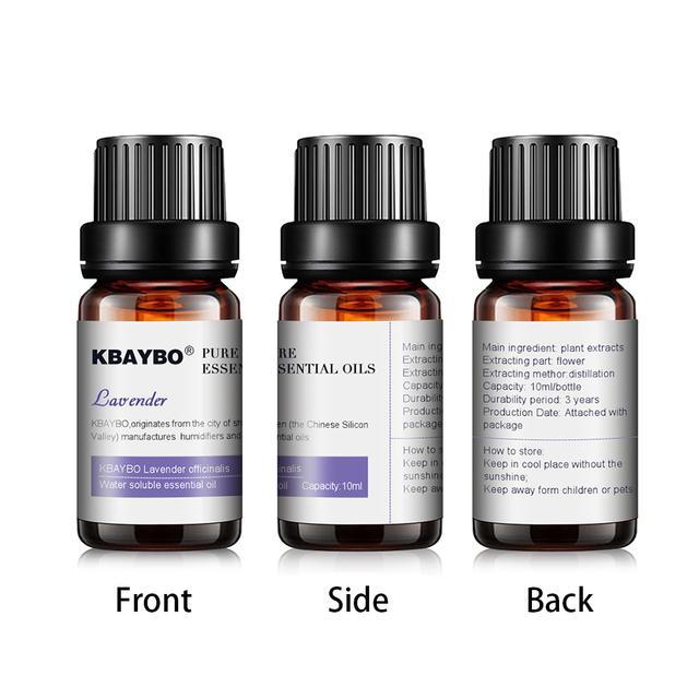KBAYBO 10ml*6bottles Pure essential oils for aromatherapy diffuserslavender tea tree lemongrass tea tree rosemary Orange oil