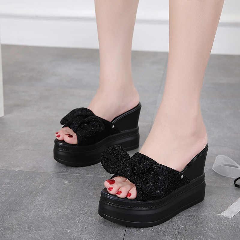 Summer Wedges Slipper Woman butterfly knot Mules Shoes casual Platform  heels Slides glitter Sandals black white 420b29170884