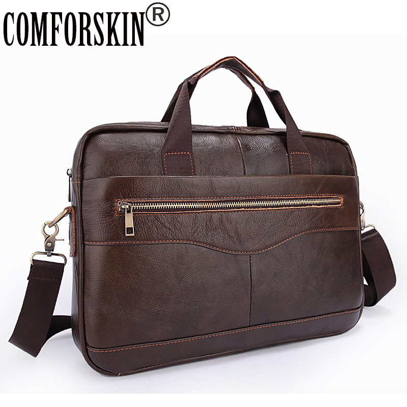 COMFROSKIN Men Messenger Bags With Soft Handle Computer Laptop Bag 100% Luxurious Cow Leather Business Briefcase For Men 2018