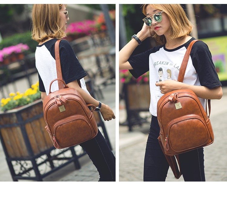 2016 Fashion Vintage Black PU Leather Backpacks For Women Preppy Bookbag New Cheap Designer Backpack Brand Couro Mochilas Mujer (18)