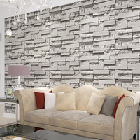 10M Roll 3D Real Look Realistic Brick Wall Wallpaper White Grey Real Deep Embossed Textured Wall