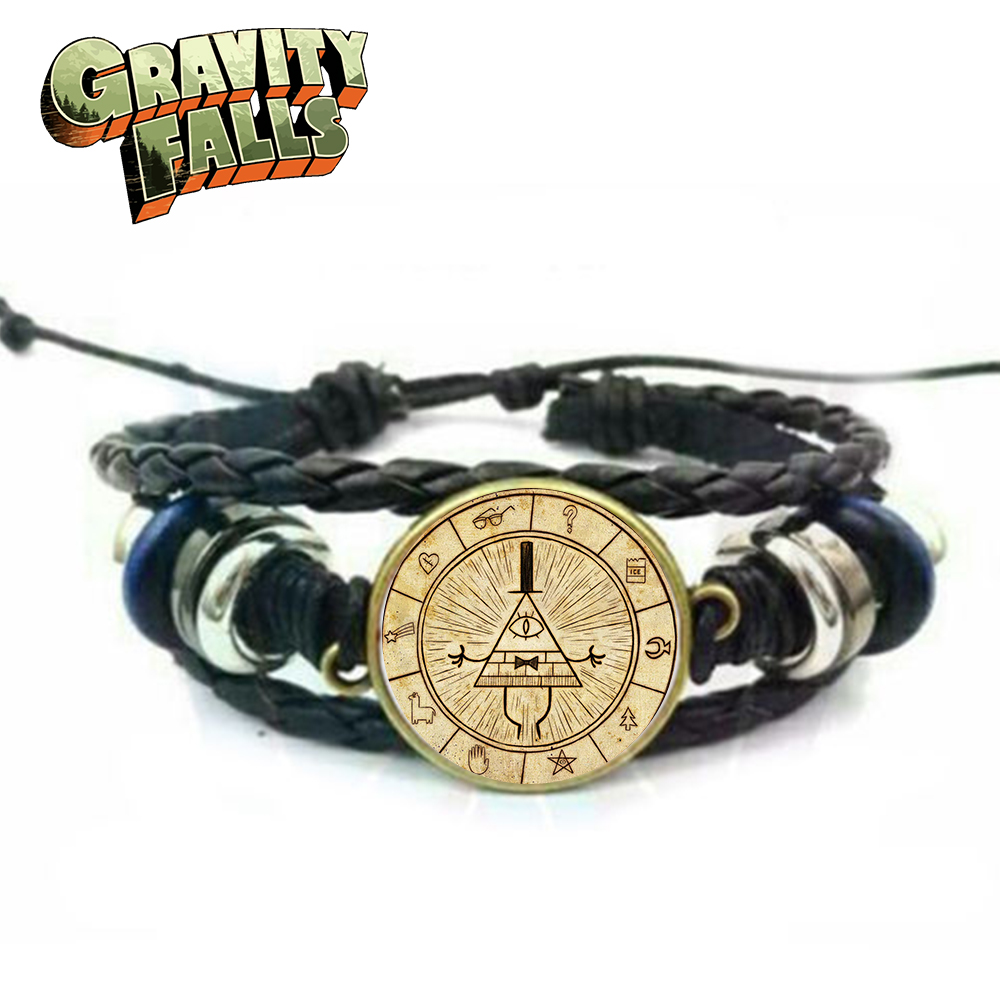 OHCOMICS Hot Anime Gravity Falls Bill Cipher Cute Leather+PU Adjustable Wristband Bracelet Hand Chain Costume Cool Pendants Gift