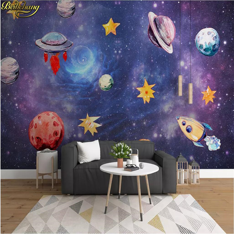 beibehang Children s room wall painting cartoon star universe galaxy background baby bedroom ceiling space wallpaper