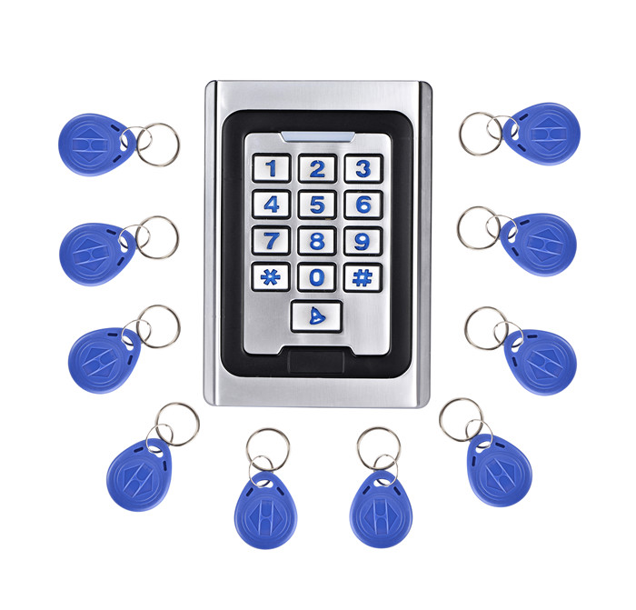 10pcs Tag card+125KHz RFID Waterproof Access Control Keypad Metal Access Control System RFID Proximity Card Reader metal rfid em card reader ip68 waterproof metal standalone door lock access control system with keypad 2000 card users capacity