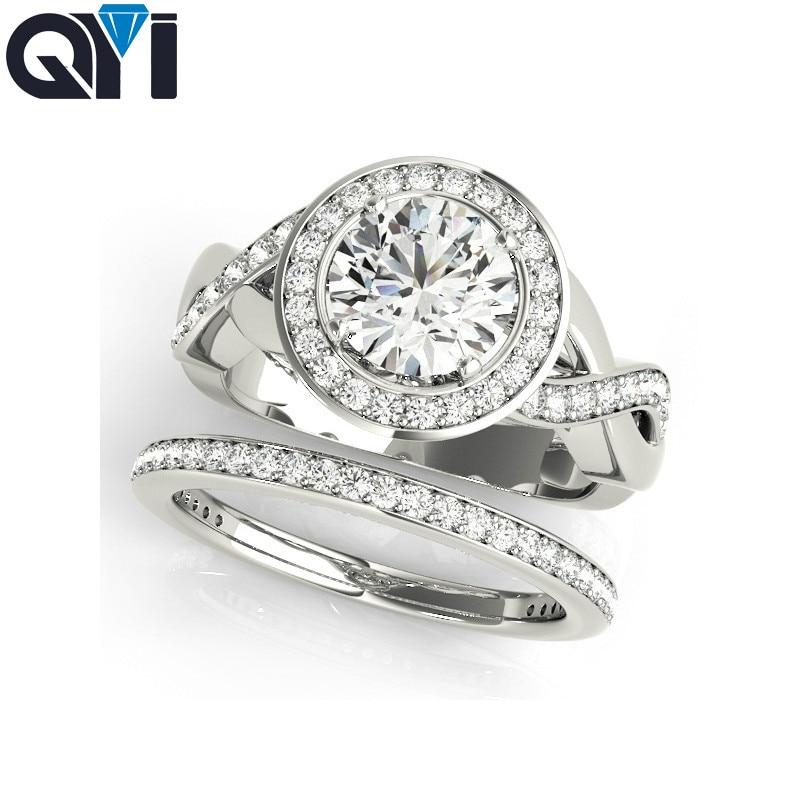 купить QYI 1 ct Rings Sets 925 Sterling Silver Wedding ring Women Fashion Wedding Jewelry For Girls Engagement Private custom недорого