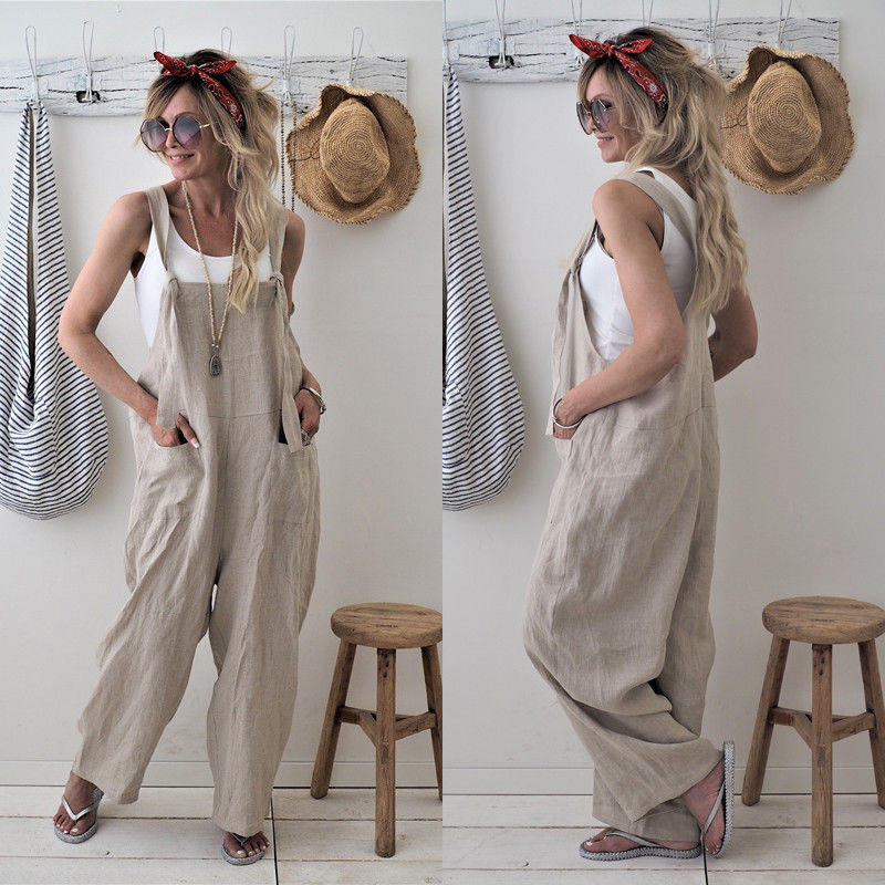 Rompers 2018 New Brand  Women Casual Loose Cotton Linen Solid Pockets  Jumpsuit Overalls Wide Leg Cropped Pants