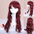 Free Shipping 55cm Women's Synthetic Hair Long Wine Red Cury Lolita Cosplay Wig