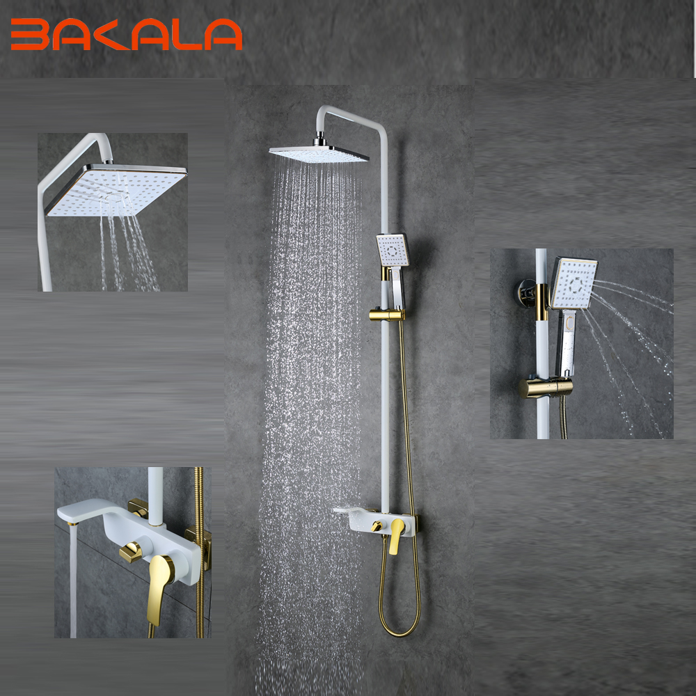 2017 high quality solid brass luxury rainfall white paint shower bath set faucets wall mounted - High quality exterior paint set ...