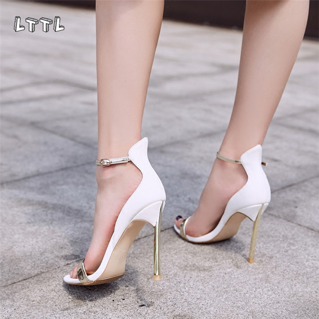 LTTL New Black White Red Ankle Buckle Strap Plain Party Prom Shoes Woman  10cm Metal Heel Sandals Women Open Toe Sexy High Heels 222aab3fa178