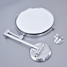 Chrome Round Extending 8 inches cosmetic wall mounted make up mirror shaving bathroom mirror 3x Magnification zba633 недорого