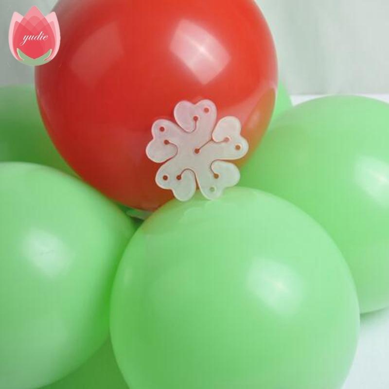 2017 New 5Pcs 6.5cm Plum Flower Shape Clip Foil Latex Balloon Flower Air Balls Kids Toys Wedding Party Baby Birthday Decorantion
