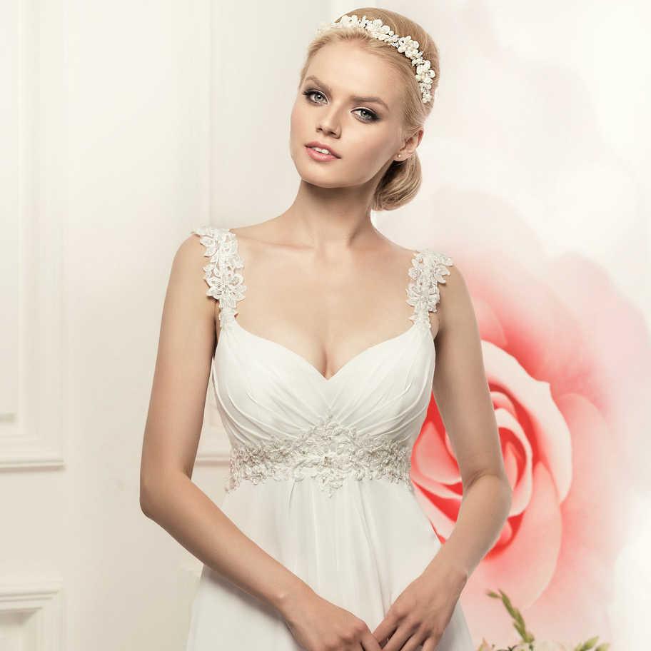 פשוט ספגטי רצועות שיפון שמלות כלה אלגנטי בוהמי אימפריה כלה שמלה לבן/שנהב Vestido דה Novia 2019