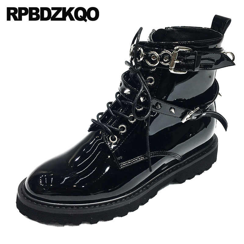 19114fc852a4 Punk Rock Boots Low Heel Patent Leather Women Shoes Brand Combat Motorcycle  Biker Military Spike Chunky