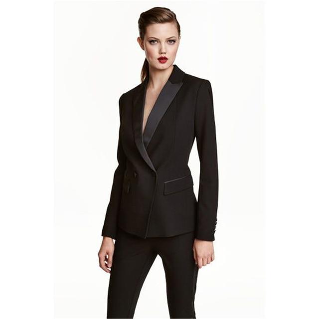a3416ef4b Mujeres de Negocios trabajo Pantalones de traje conjunto chaqueta delgada  formal ol elegante doble de pecho