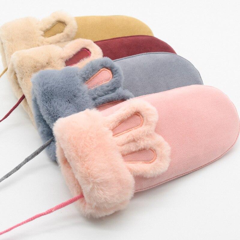Women Winter Plus Plush Thick Warm Gloves Halter Mittens Famale Fashion Cartoon Rabbit Ears Wind Suede Leather Fur Gloves B24