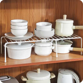 Adjustable Kitchen Storage Rack Metal Cupboard Storage Shelf Non-Skid Spice Rack Single Layer Kitchenware Organizer Saving Space