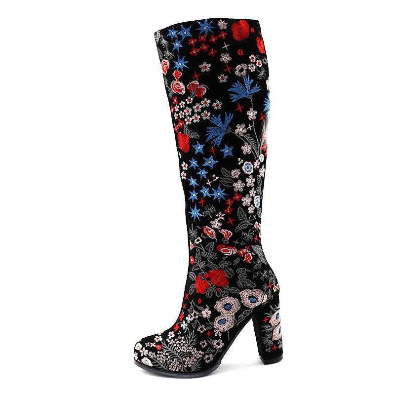 Hauteur Hauts Chaussures En Longues De Bottes Talon Du D'hiver Enmayer Bout Glissière Fermetures Mode Femmes Carré Genou Rond À Cuir Talons H7pRzqg