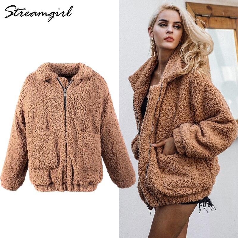 comprar popular a9de0 581aa € 28.79 45% de DESCUENTO|Abrigo de piel marrón de peluche chaquetas  mullidas otoño invierno cálido con cremallera suave abrigo de piel de  imitación ...