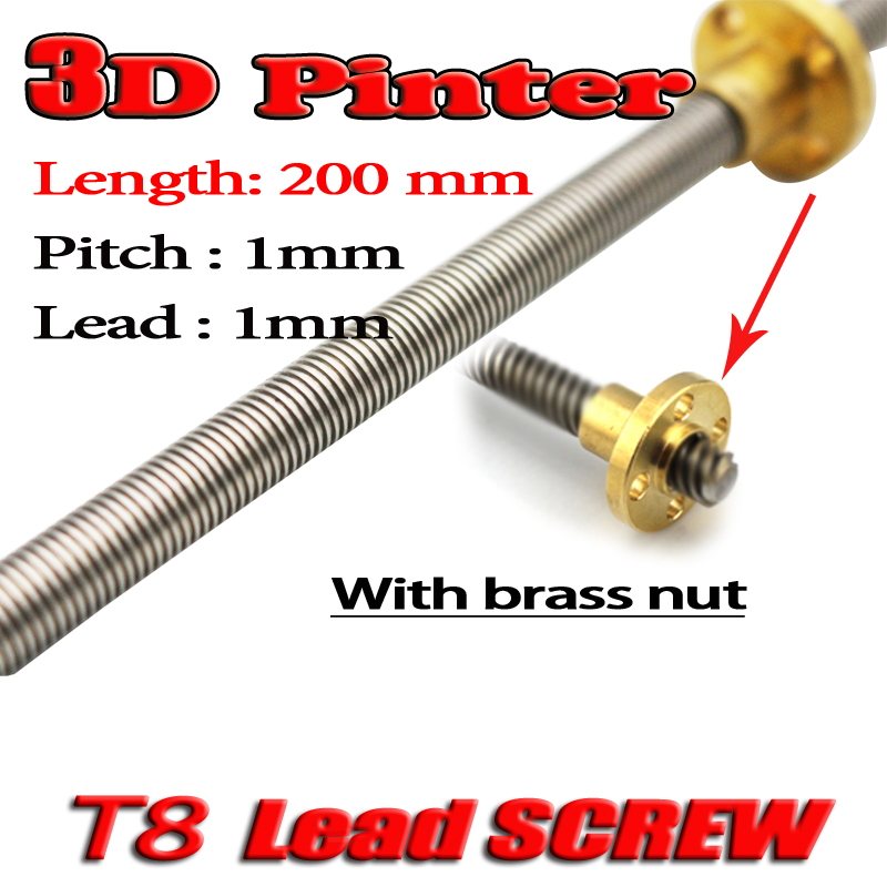3D Printer T8 Screw THSL-200-8D Trapezoidal Lead Screw Dia 8MM Pitch 1mm Lead 1mm Length 200mm With Copper Nut