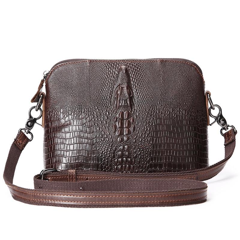 Genuine Leather bag Men Bags Fashion Male Messenger Bag Men's Briefcase Crocodile Pattern Man Casual Crossbody bags Shoulder